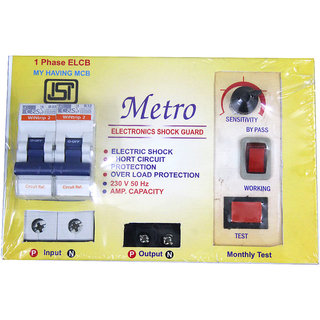 2 Pole ELCB + RCCB + ISI Marked MCB 32 A With High Voltage, Overload  Protection, Current 3 To 30 Ma (Shock Guard)