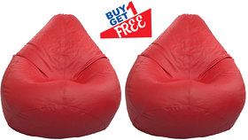 Home Berry L Modern Classic Bean Bag Without Beans (Red) Size- L (Buy1 Get1)