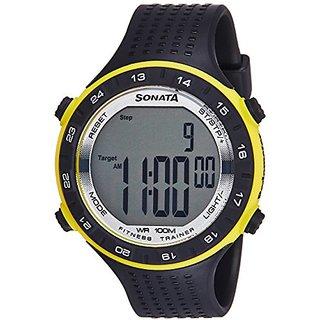 Sonata Digital Grey Dial Mens Watch-77040PP04