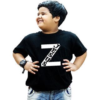 HEYUZE 100% Cotton Printed Black Half Sleeve Kids Boys Round Neck T Shirt With Alphabet Z Jesus Christ Design