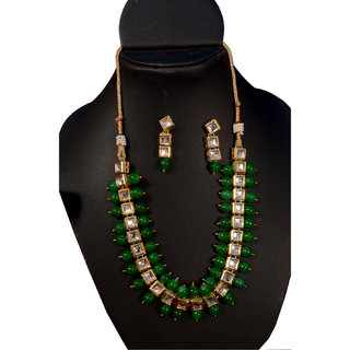 Oanik Traditional Kundan and Beads Choker Necklace Set for Women and Girls