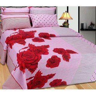OM DECOR 320-TC 100 Cotton Multi Colour Designing90X100 Pure- Cotton Double Size (230CM X 250CM) BEDSHEET with 2 Pillow (45X70CM) Covers