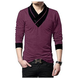 Maroon Plain Men's V Neck Cotton Blend V-Neck T-Shirt For Men