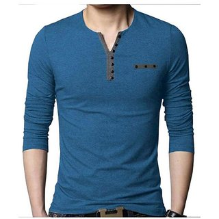 Try This Men's Blue Henley Cotton Tshirt
