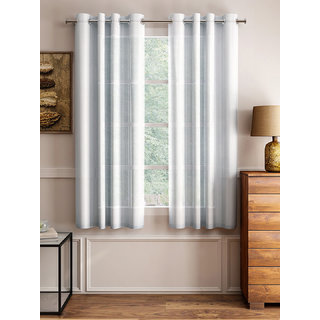 Lushomes White Design 2 Melody Sheer Window Curtains 4.5 Ft x 5 ft. (54 x 60 Single pc)