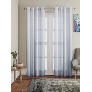 Lushomes White Design 2 Melody Sheer Door Curtains 4.5 Ft x 7.5 ft. (54 x 90 Single pc)