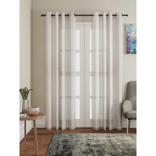 Lushomes Beige Design 2 Melody Sheer Door Curtains 4.5 Ft x 7.5 ft. (54 x 90 Single pc)