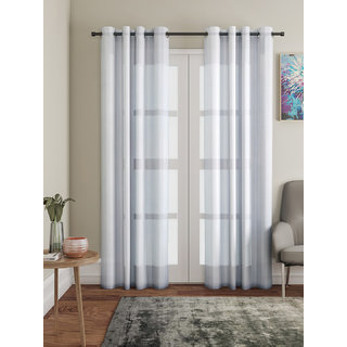 Lushomes Grey Design 2 Melody Sheer Door Curtains 4.5 Ft x 7.5 ft. (54 x 90 Single pc)
