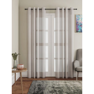 Lushomes Brown Design 2 Melody Sheer Door Curtains 4.5 Ft x 7.5 ft. (54 x 90 Single pc)