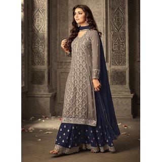 Salwar Soul Brown Georgette Pakistani Semi-Stitched Salwar Suit