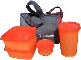 Topware Plastic Lunch Box Orange No. of Pieces 4