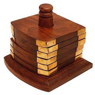 Desi Karigar Brown Beautiful Wooden Tea Coaster Handmade Retro Wood Coaster Set With 6 Square Table Coaster Set Of 6