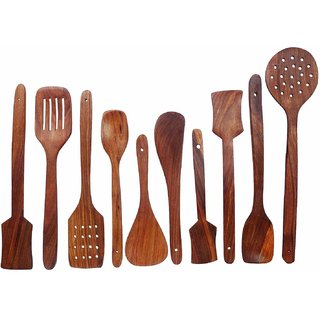 Shilpi Pure Sheesham Wooden Spoon Set of 10 pc. Ideal for Non Stick Kitchen Accessoires.