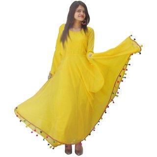 Raabta Fashion Yellow Pom Pom Long Dress
