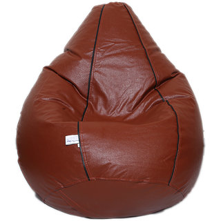 Maruti fun bags Bean Bag cover Stripped XXL Bronze Colour Without Beans