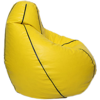 Maruti fun bags Bean Bag cover Stripped XXXL Yellow Colour Without Beans