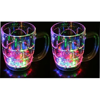 Rainbow Color Cup Led Flashing 7 Colour Changing Liquid Activated Mug (Pack of 2) Assorted Colo