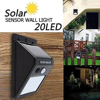 ZEVORA Outdoor Motion Activated Sensor Solar Panel 20 LED Water Proof 2 Lighting Modes Wall Light (Black) - Pack of 1
