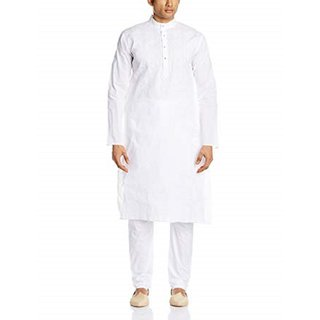 Alif International Kurta with Pajama (White with Pocket)