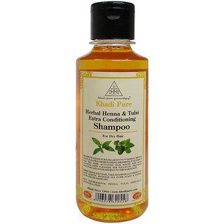 Khadi Pure Herbal Henna Tulsi Extra Conditioning Shampoo - 210ml