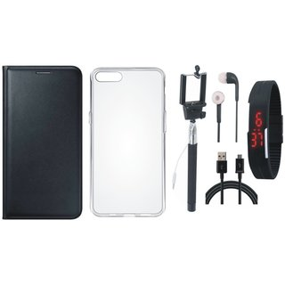Redmi Note 5 Leather Flip Cover with Silicon Back Cover, Selfie Stick, Digtal Watch, Earphones and USB Cable