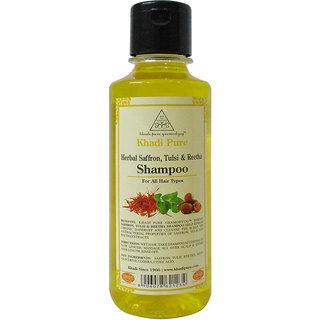 Khadi Pure Herbal Saffron, Tulsi  Reetha Shampoo - 210ml