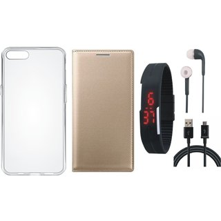 Redmi Note 5 Pro Leather Flip Cover with Silicon Back Cover, Digital Watch, Earphones and USB Cable by Vivacious