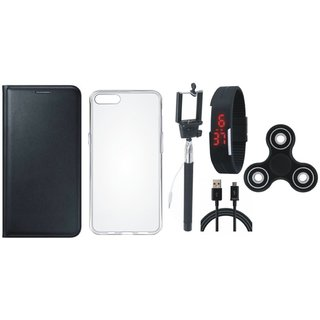 Redmi Note 5 Pro Premium Leather Case with Spinner, Silicon Back Cover, Selfie Stick, Digtal Watch and USB Cable by Vivacious