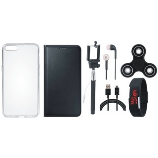 Redmi Note 5 Stylish Leather Cover with Spinner, Silicon Back Cover, Selfie Stick, Digtal Watch, Earphones and USB Cable