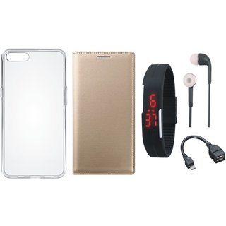 Redmi Note 5 Pro Leather Flip Cover with Silicon Back Cover, Digital Watch, Earphones and OTG Cable by Vivacious