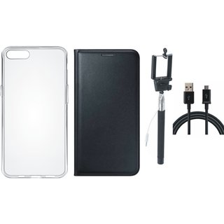 Redmi Note 5 Leather Flip Cover with Silicon Back Cover, Selfie Stick and USB Cable