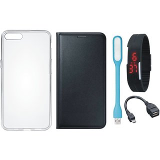 Redmi Note 5 Premium Quality Leather Cover with Silicon Back Cover, Digital Watch, OTG Cable and USB LED Light