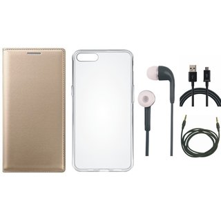 Redmi Note 5 Leather Flip Cover with Silicon Back Cover, Earphones, USB Cable and AUX Cable by Vivacious