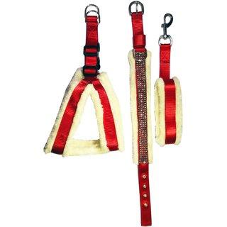 Petshop7 Nylon with Soft Fur Padded Premium Dog Harness, Dog Collar  Dog Leash Set (Chest Size 26-30 inch) Medium (Red
