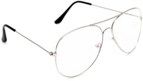 TheWhoop Spectacle Frame Aviator Eyeglass For Men And Women  Full Rim Silver Unisex Transparent Sunglasses