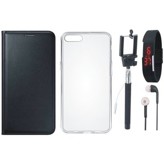 Redmi Note 5 Stylish Leather Flip Cover with Silicon Back Cover, Selfie Stick, Digtal Watch and Earphones by Vivacious