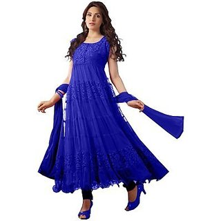 Aaina Blue Embroidered Net Dress Material For Women (Unstitched)