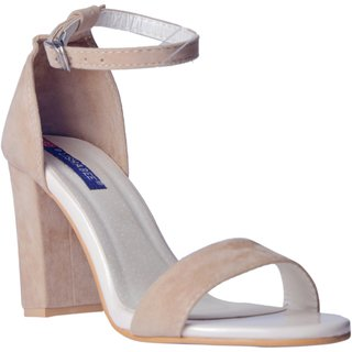 MSC Women suede Leather Cream Heels
