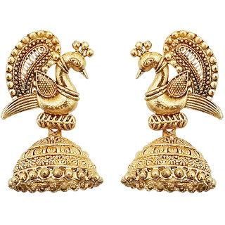 JewelMaze Gold Peacock Jhumki Earrings-1311538A