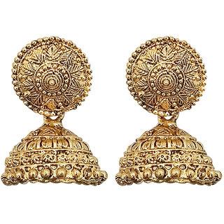 JewelMaze Gold Plated Jhumki Earrings-1311539A