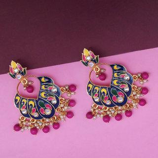 JewelMaze Blue Meenakari And Beads Kundan Dangler Earrings -1314218F