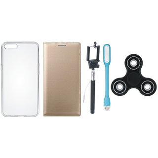 Redmi 5 Cover with Spinner, Silicon Back Cover, Selfie Stick and USB LED Light by Vivacious