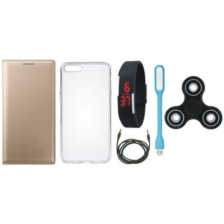 Redmi 5 Premium Leather Case with Spinner, Silicon Back Cover, Digital Watch, USB LED Light and AUX Cable