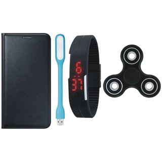 Samsung A6 Premium Leather Cover with Spinner, Digital Watch and USB LED Light