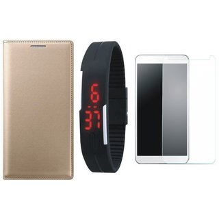 Vivo V9 Stylish Leather Flip Cover with Free Digital LED Watch and Tempered Glass