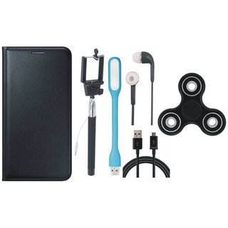 Vivo V9 Premium Leather Cover with Spinner, Selfie Stick, Earphones, USB LED Light and USB Cable