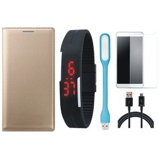 Samsung A6 Stylish Leather Flip Cover with Free Digital LED Watch, Tempered Glass, LED Light and USB Cable