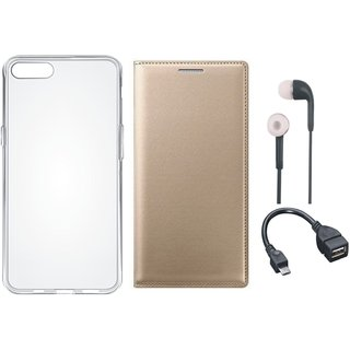 Vivo V9 Stylish Leather Flip Cover with Silicon Back Cover, Earphones and OTG Cable