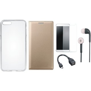 Samsung A6 Stylish Leather Flip Cover with Silicon Back Cover, Tempered Glass, Earphones and OTG Cable
