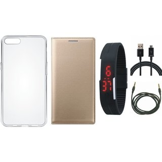 Vivo V9 Leather Flip Cover with Silicon Back Cover, Digital Watch, USB Cable and AUX Cable by Vivacious